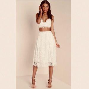 J. GEE Crochet Lace Midi Skirt Ivory EUC  Large